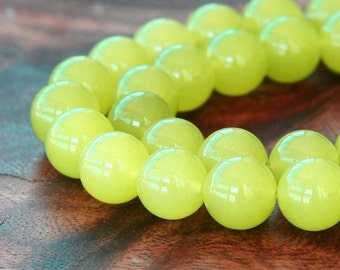 Dyed Jade Beads, Neon Yellow Semi-transparent, 10mm Round - 15 inch strand - eSJR-Y48-10