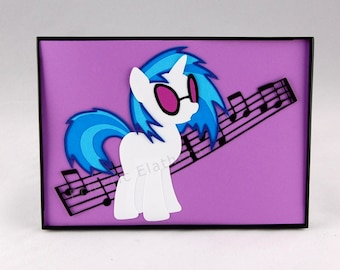 MLP DJ Pon-3 / Vinyl Scratch My Little Pony - Framed Paper Art 5x7