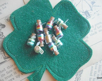 Lucky Irish Glitter Jars Set of 10  Tiny Jars, March, Rainbow, green, clover, four leaf clover, Shamrock, St. Patrick's Day, Pot of Gold