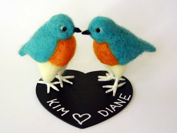 Custom order Bird Wedding Cake Topper, Bird Couple, Wedding decoration,  Blue Bird, Felt Bird, Blue Bird figurines