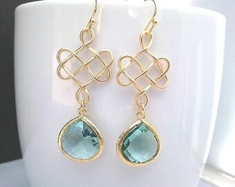 Infinity love knot Earrings ,Drop, Dangle, Gemstone Earrings, bridesmaid gifts,Wedding jewelry, christmas gift, cocktail jewelry