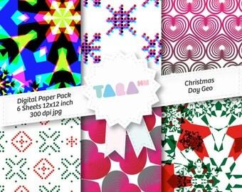 """Digital Scrapbook Paper, Christmas Day 6 files Digital Scrapbooking, 6 jpg files 12""""x12"""", Christmas Scrapbook, DIY Craft Kit Digital Paper"""