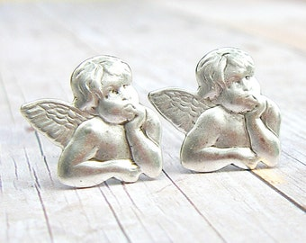 Cherubs - antique finish silver post earrings