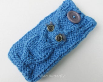 iPod case iPhone 5 4 cover Droid DNA Smartphone mobile HTC Android Incredible Samsung bag iPod Touch Xperia Z Nexus 5 7, knit Owl in Blue