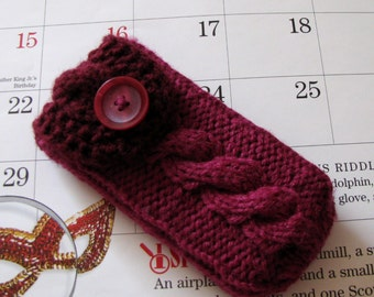 Pax Vaporizor Case, or iPod Touch Xperia Z iPhone 5/ 4 case Nexus HTC Droid Smartphone cozy, hand knit in two colors Dark Berry and Burgundy