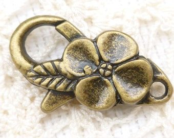 Bronze Flower Lobster Clasp Findings (5) - BF39