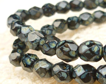 6mm Black Picasso Firepolished Faceted Round Czech Glass Beads (30) - FP6/135