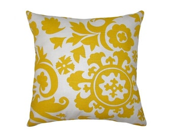 STORE CLOSING SALE Decorative Suzani  pillow yellow corn and white decorative pillow cover 18x18 inches