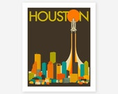 HOUSTON SKYLINE, Giclee Fine Art Print, Retro Pop Art for the home Decor