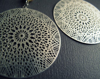 Sacred Geometry Earrings - Flower of Life Earrings - Silver Laser Cut Earrings - Silver Mandala Earrings - Metatrons Cube Geometry Jewelry