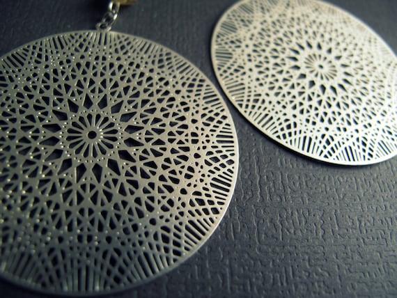 Sacred Geometry Earrings - Flower of Life Earrings - Silver Laser Cut Earrings - Silver Mandala Earrings - Metatrons Cube Geometry Jewelry