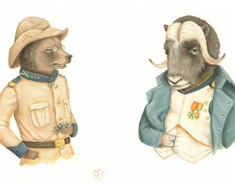 Delusions of Grandeur Print Set / Teddy Roosevelt Bear & Napoleon Musk Oxen - animals in clothes, historical figures, history, illustration