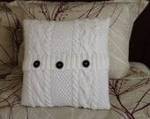 Hand knitted white pillow case, throw and cable pattern, pillow not included