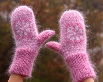 Made to order hand knit mohair mittens with Nordic/Icelandic patterns in pink and white by SUPERTANYA