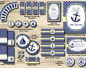 Nautical Birthday Party Package - Anchor Birthday Party Pack - Sailboat, Stripe Knot Chevron, Yellow, Navy - 1st PRINTABLE INSTANT Boy, Girl