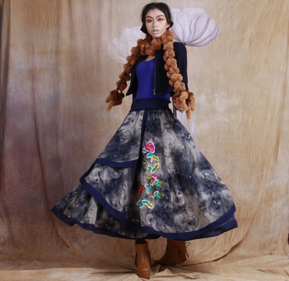 winter thick warm skirt----linen maxi skirt,Irregular hem skirt