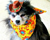 Small Dog Clothes Mexican-Style Hat/Bandanna Set Customize for Little Dogs Yellow, Crimson, Turquoise & Green with Decorated Dark Brown Hat