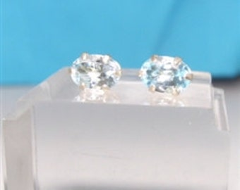 Sky Blue Topaz Solitaire Sterling Silver Earrings post - gemstone oval cut