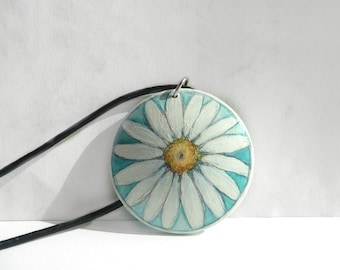 Daisy Pendant, Hand Painted Jewelry, Cobalt Green Necklace, Leather Cord, Flower Pendant, Small Painting on Wood, Flower Jewelry