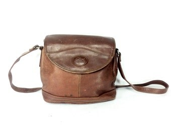 Chestnut Leather Crossbody Satchel - 80s Small Brown Leather Purse - Vintage Satchel