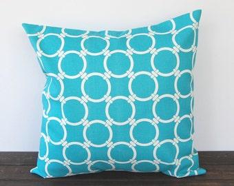 Pillow, Throw Pillow, Decorative Pillow, Toss Pillow, Cushion, Pillow Cover, turquoise blue geometric