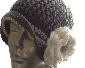 Hand crochet vintage style hat
