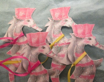 Princess Seahorse gift tag, Pretty pink seahorse, party decoration, pink ornament