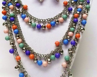 Layered Multicolored Bead Necklace & Earrings Set