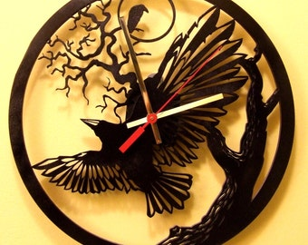 raven, tree, modern wooden wall  clock.Black painted