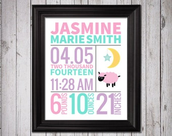 Lamb Birth Stats Print,  baby girl nursery, lambs nursery art, girl lamb art, birth announcement print, birth stat poster, bible nursery art