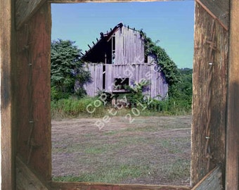 Crumbling old barn in a summer hay field photo taken by me framed in Rustic, Weathered Wood Picture Frame 8x10