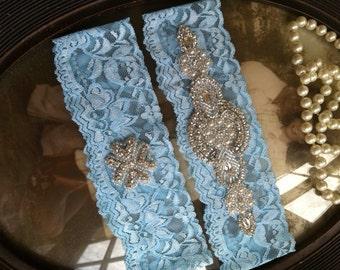 SALE-Wedding Garter - Something Blue - Blue - Rhinestone Garter - Applique Garter - Vintage - Bridal Garter - Something Blue - Toss Garter