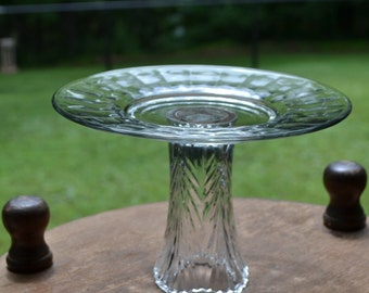 Glass Cake Stand Clear Glass Cupcake Stand Cake Plate Food Display Wedding Upcycle Recycle Littlestsister