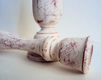 Two Farmhouse Chic Candle Holders - Distressed White & Red Candlestick Pair - Rustic Cottage Chic - French Country Decor - Shabby Farmhouse