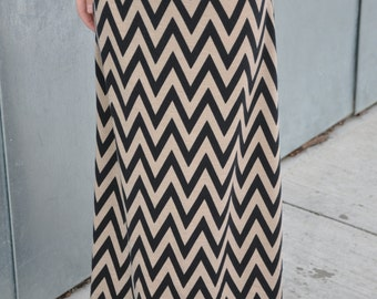 Girls Chevron Maxi Skirt in Tan and Black