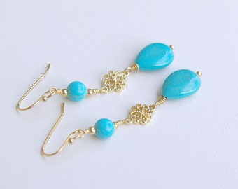SALE Turquoise Dangle Earrings in Gold - Blue Dangle Earrings - Turquiose Dangle Earrings, Turquoise Drop Earrings - Blue Gold Earrings