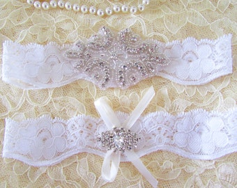 SALE - Wedding Garter, Bridal Garter, Garter Set -  Crystal Rhinestone on a White Lace