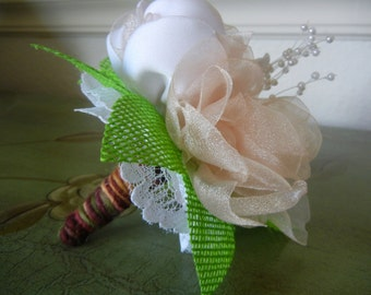 6 Inch Bouquet, Couture Flowers, Fabric Flower Bouquet, Flowergirl Bouquet, Bridesmaid, Bridal Bouquet, Peach Bouquet