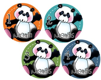 Month Stickers Baby Milestone Stickers Monthly Stickers Monthly Baby Stickers Baby Month Stickers Panda Bears Baby Shower Gift Photo Prop