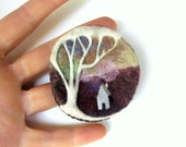 Felt brooch, needle felted tree pin, scottish highlands, wearable art