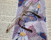 Patchwork Glasses  Case - White hearts embroidered on purple patchwork