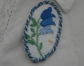 Embroidered Brooch - re-purposed vintage linen bluebell framed by couching