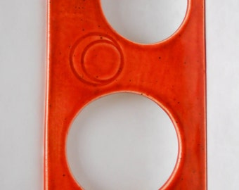 Peek-a-boo slim ceramic wall mirror in bright spice
