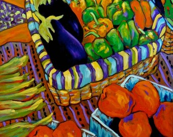 Eggplants, Big Boys & Peppers - Giclee Print