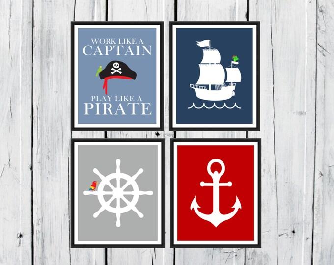 Pirate Word Art - Work Like A Captain - Play Like a Pirate  -  4 Piece Set  -  Nursery Decor - Pirate  Print - Boys Room Decor