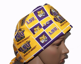 Pixie Scrub Hat - Louisiana State University Pixie Scrub hat - LSU Pixie Tie-back Scrub hat - Surgeons Scrub Cap - Doctors Gift - Custom
