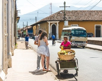 Street Life Photo - Nicaragua. Central America Photo. Street Photography. Granada. Food Cart. Vacation. Fine Art Photography