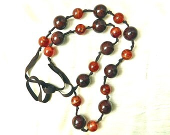 Vintage Necklace Long Faux Tortoise Beads Marbleized Lucite Resin Shell On Ribbon 40 inch