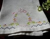 Vintage Hand Embroidered Pique Tea Towel  3346