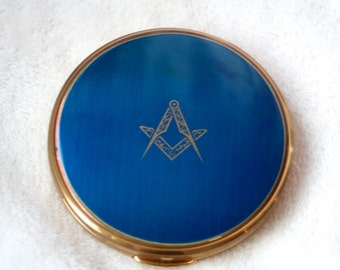 FREE SHIPPING Mascot Vintage Masonic Compass and Square Blue Enamel Gold Tone Powder Compact Mirror Bridal/ Bridesmaid Gift